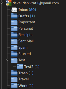 Folder hierarchy synced via native Gmail Resource