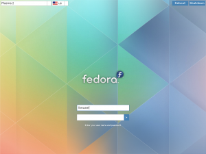 Fedora Plasma Next Live ISO Login screen
