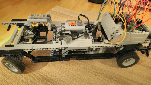Photo of LEGO car with the electronics on board